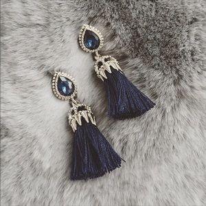 NEW Royal blue stone TASSLE earrings